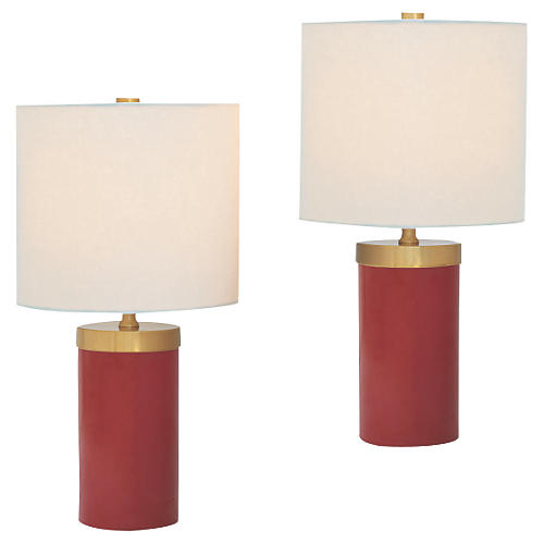 S/2 Marty Ruby Table Lamps, Ruby