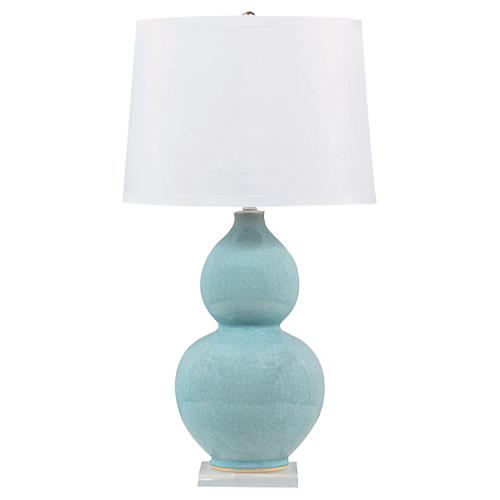 Pearl Table Lamp, Light Blue