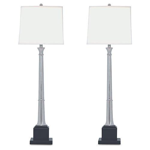 S/2 Kensington Buffet Lamp, Nickel