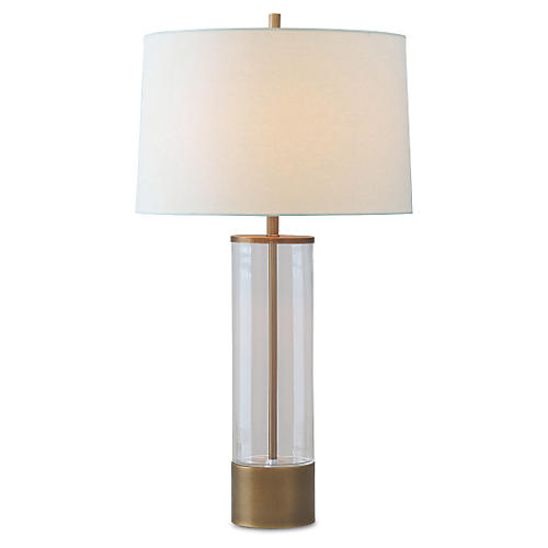 Evanston Table Lamp, Brass Cylinder
