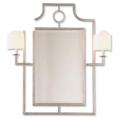 Doheny Sconces Wall Mirror, Silver