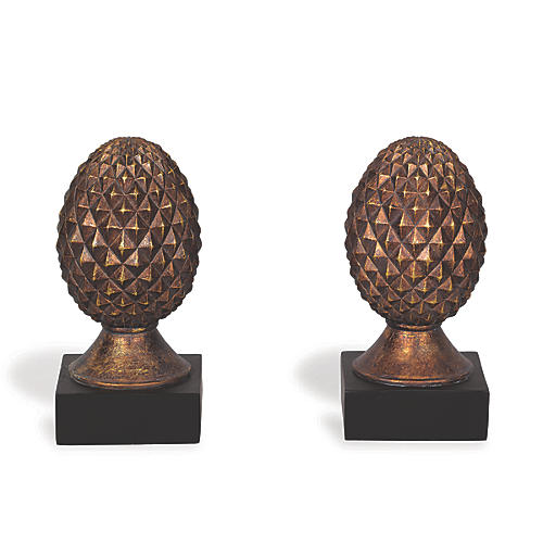 S/2 Pineapple Bookends, Antiqued Gold