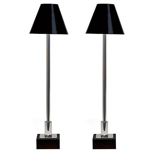 S/2 Marais Table Lamps, Nickel/Black