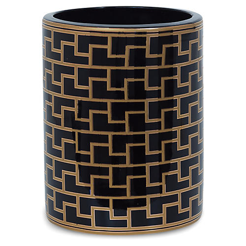 "9"" Paul Geometric Vase, Black/Gold"