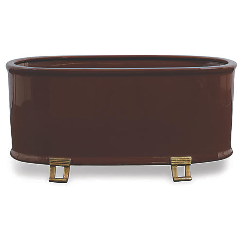"18"" Glenda Oval Planter, Brown/Brass"