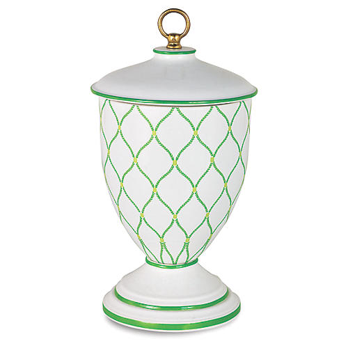 "17"" Deane Jar, Green/White"