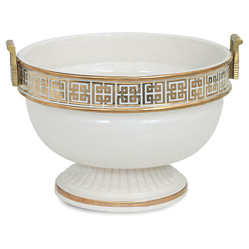 "16"" Palace Fret Decorative Bowl, Gold/White"