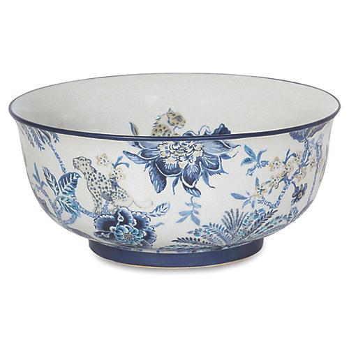 """15"""" Braganza Basin Bowl, Blue/White"""