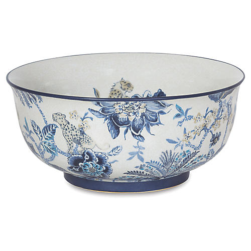 "15"" Braganza Basin Bowl, Blue/White"