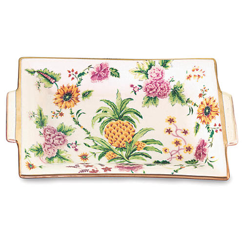 "11"" Portsmouth Pineapple Decorative Tray, Orange"
