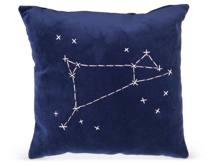 Blue Star Zodiac Signs Pillow- Aries
