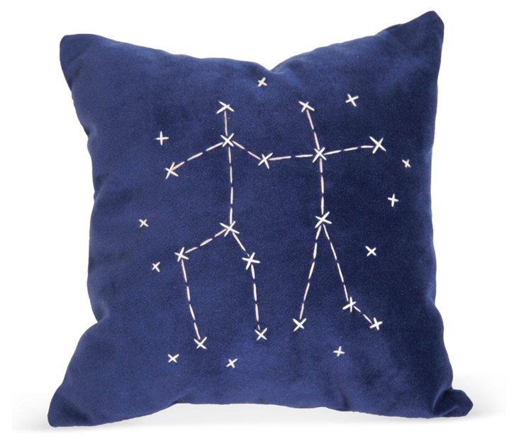 Blue Star Zodiac Signs Pillow- Gemini