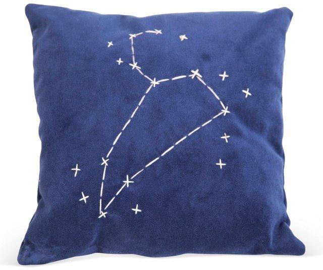 Blue Star Zodiac Signs Pillow- Leo