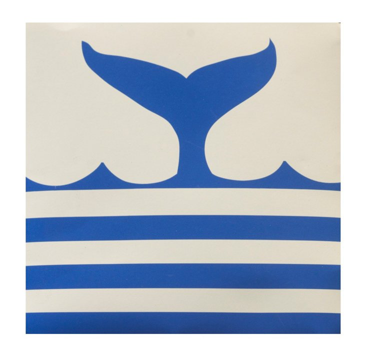 S/48 Whale Tail Cocktail Napkins, Blue
