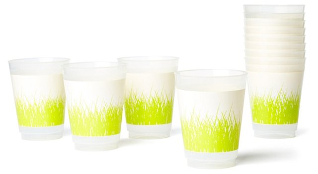 S/12 Grass Plastic Cups