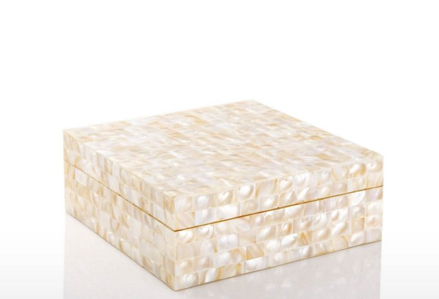 Mother-of-Pearl Jewelry Box, Cream