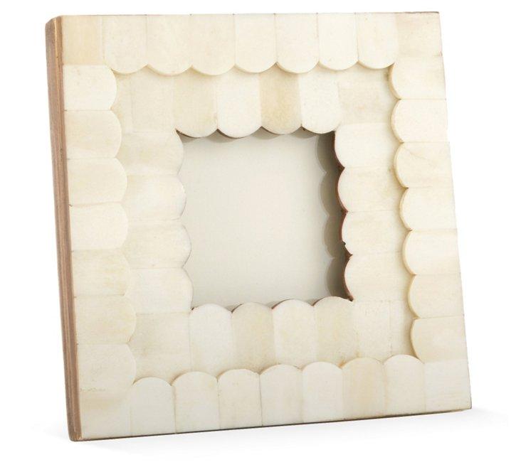 Scalloped Bone Frame, 3x3, White