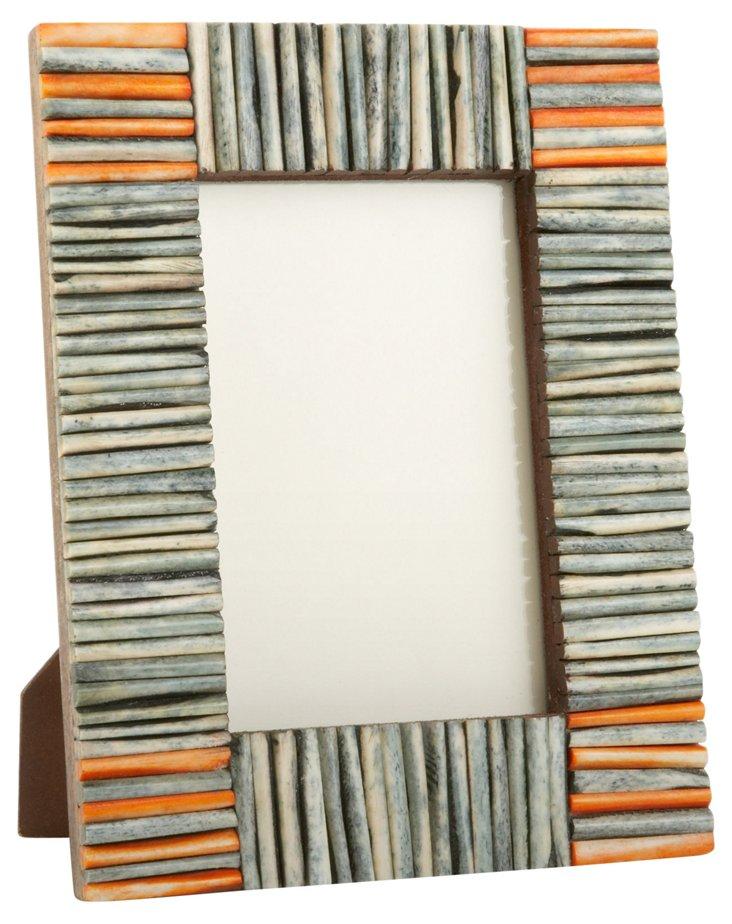 Matchstick Bone Frame, 4x6, Orange/Jade