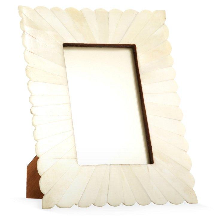 Scalloped Bone Burst Frame, 4x6, White
