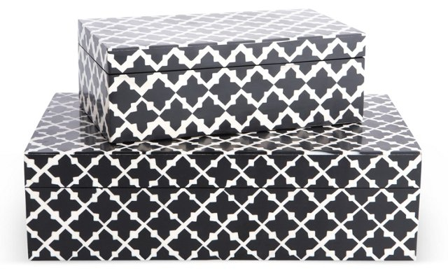Asst. of 2, Nested Boxes, Black