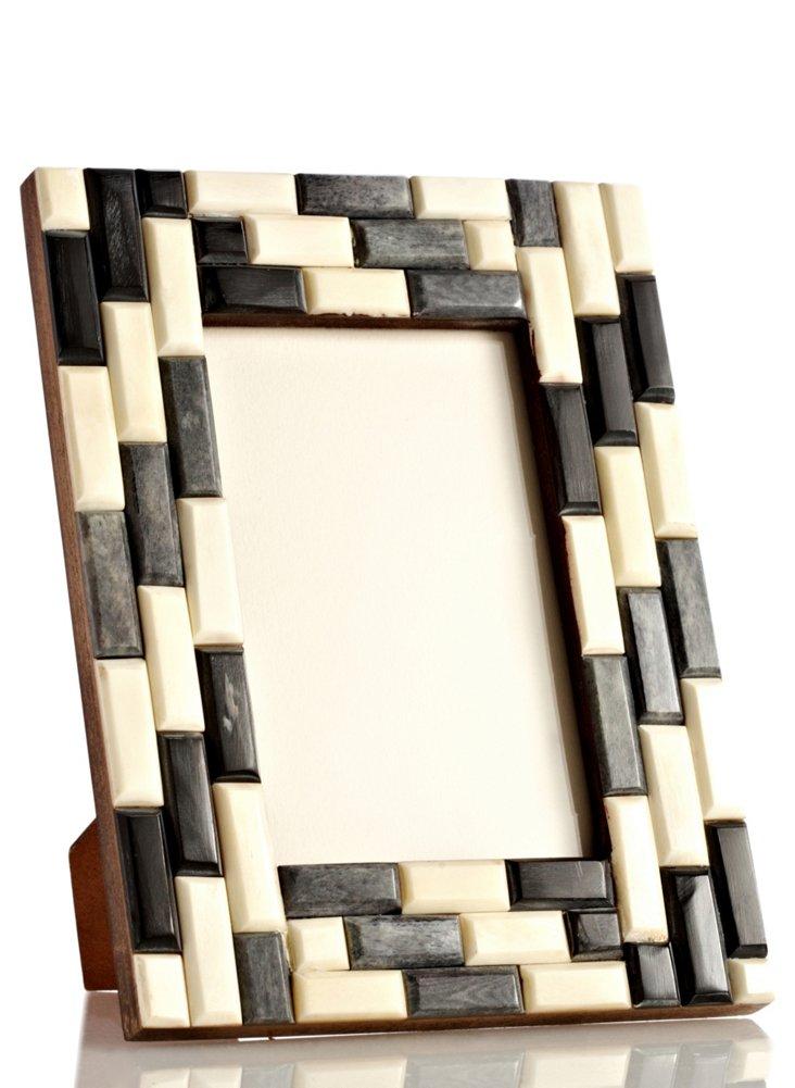 Brick Bone Frame, 4x6, Gray/White