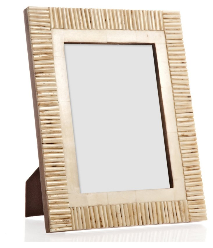 Matchstick Border Bone Frame, 5x7, Tan