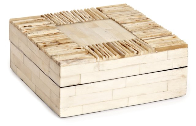 "5"" Matchstick Bone Box, White"