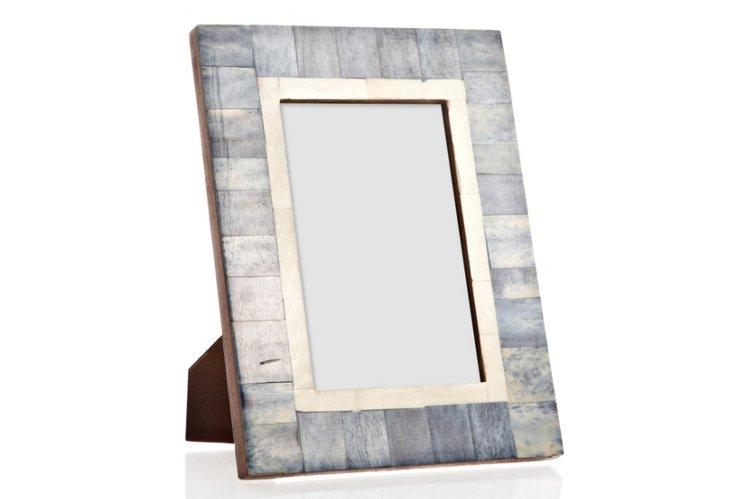 Tiled Bone Frame, 4x6, Deep Sea Blue