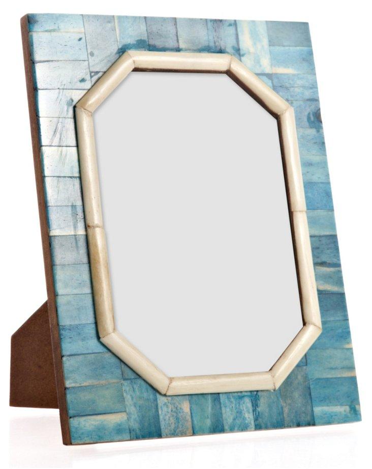Hexagon Cut Bone Frame, 5x7, Ocean Blue