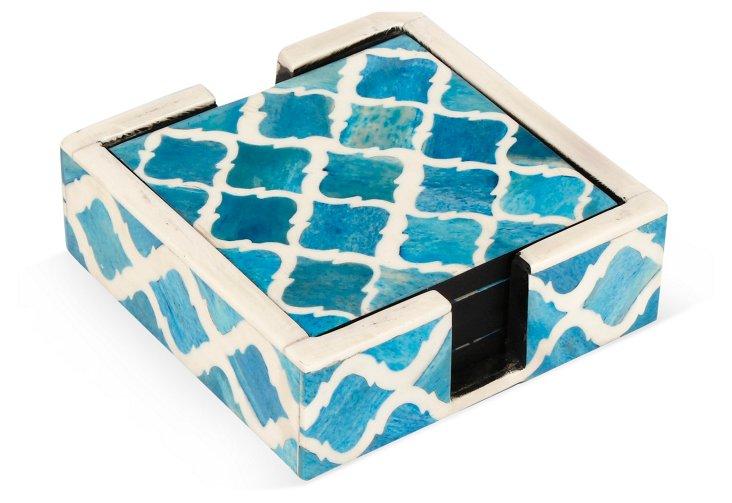 S/4 Bone Coasters w/ Holder, Turquoise