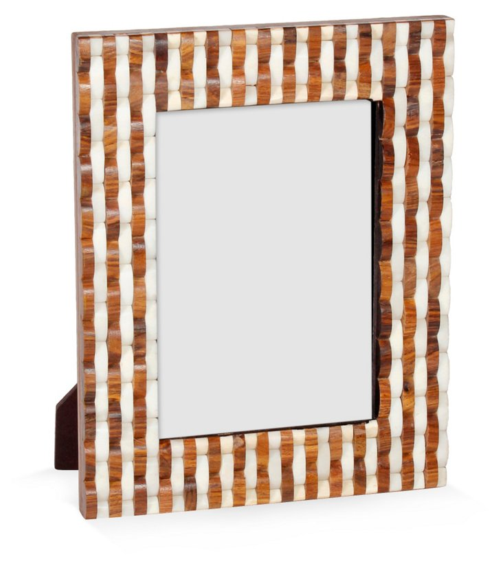 Bone & Sheesham Frame, 5x7, White/Brown