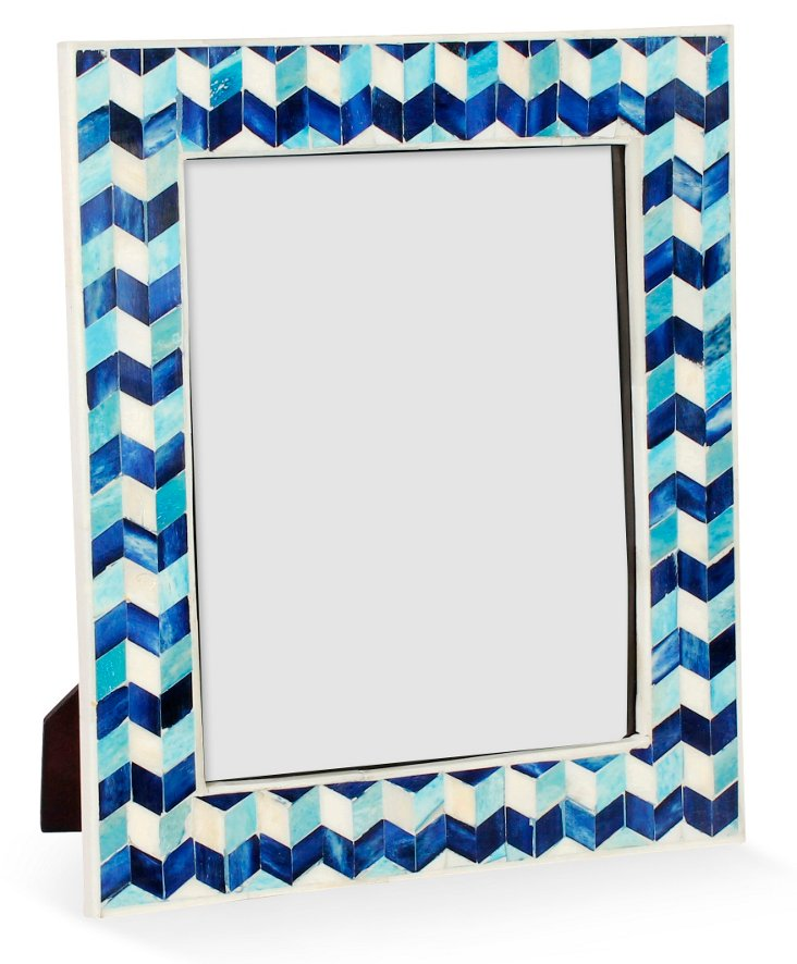 Chevron Bone Frame, 8x10, Blue/White