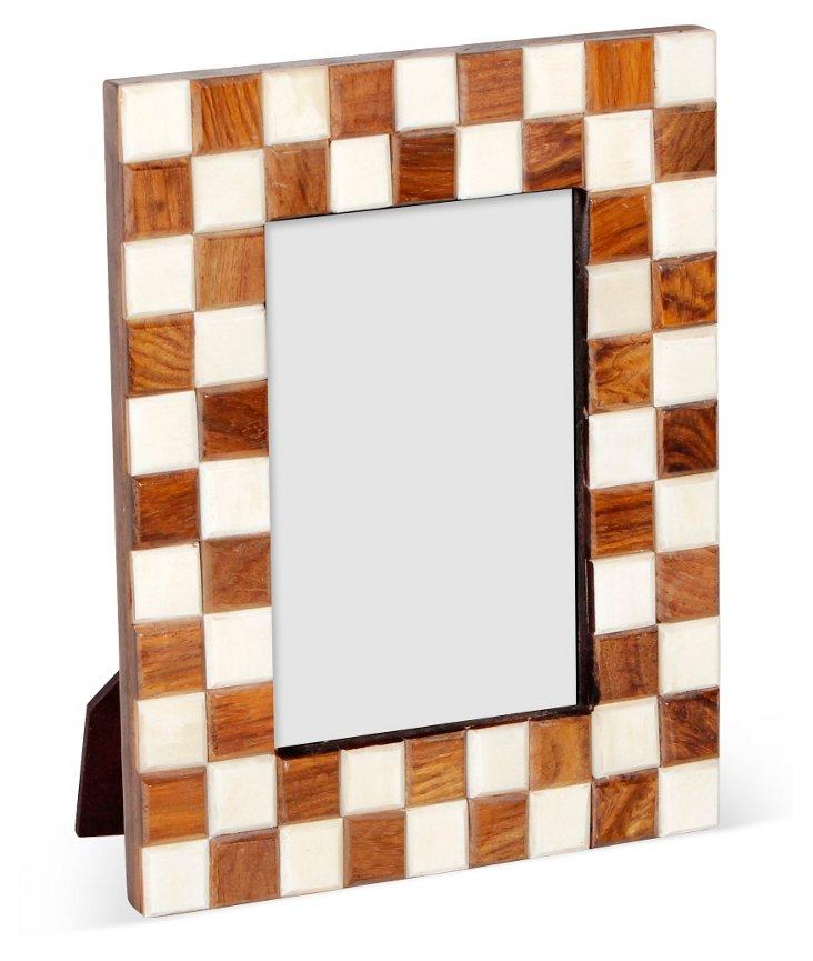 Sheesham Checkered Frame, 4x6, Brown