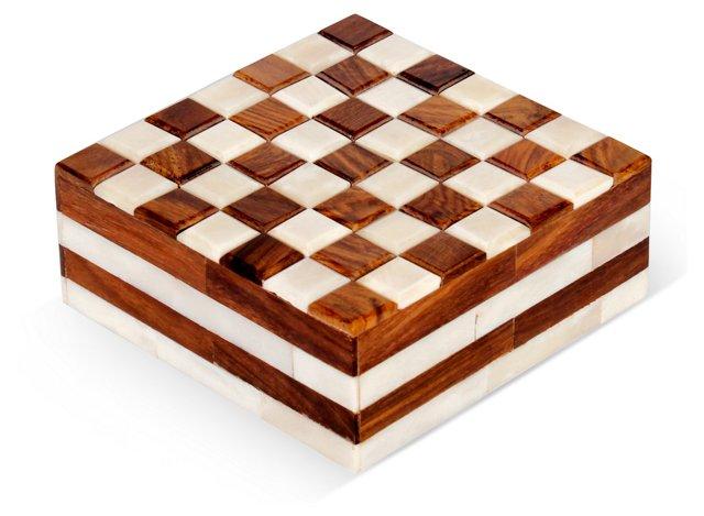 """5"""" Sheesham Checkered Box, Brown"""