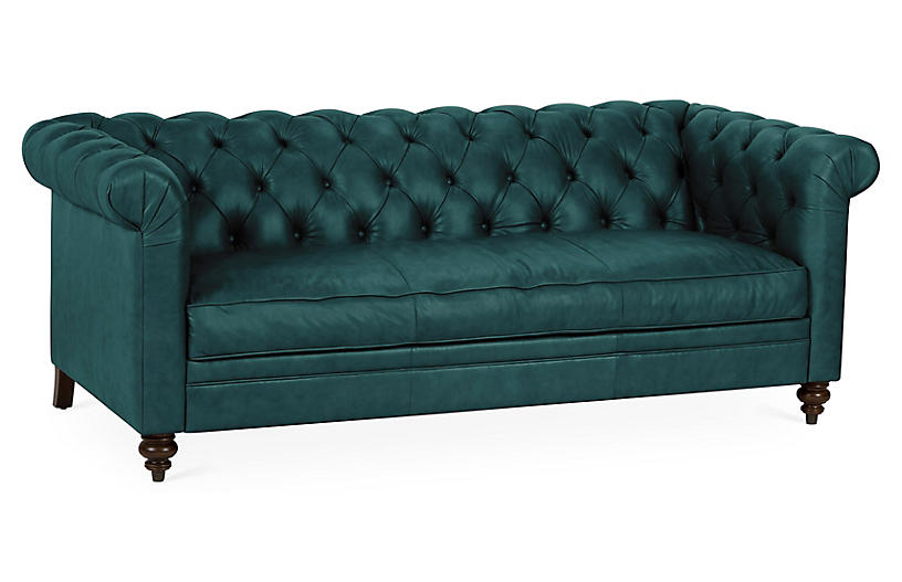 Rockport Chesterfield Sofa, Teal Leather One Kings Lane Brands One Kings Lane