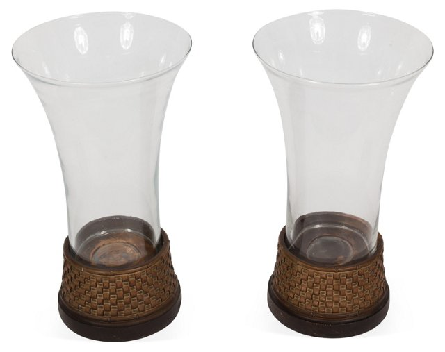 Fluted Glass Hurricanes, Pair