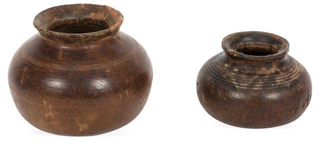 Vintage Wood Bowls, Set of 2