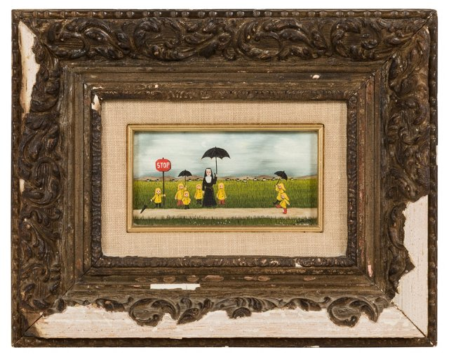 Oil Painting, Nun & Children