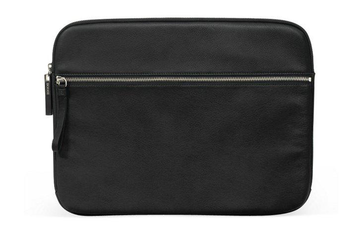 """15"""" Leather Laptop Jacket, Black"""