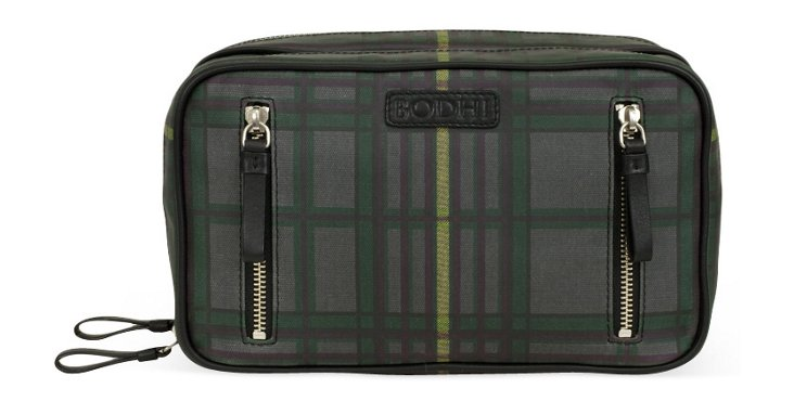 Zippered Dopp Kit, Dark Plaid