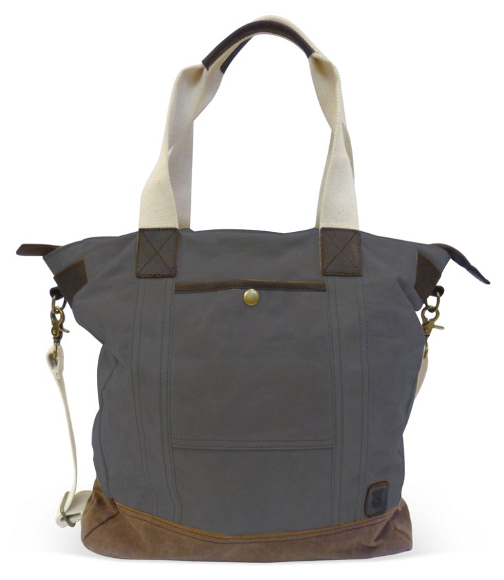 Canvas Everyday Tote, Slate/Brown