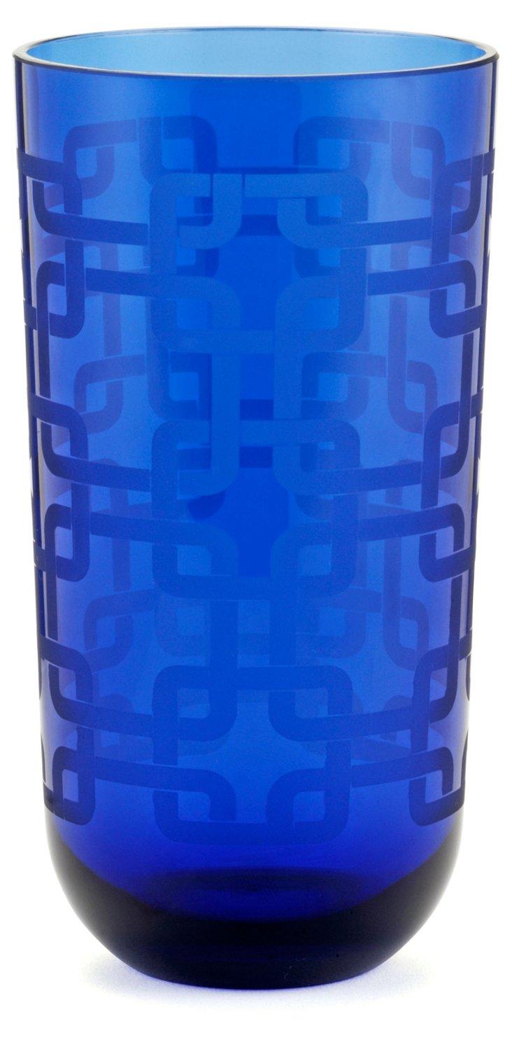 S/4 Knot Highball Glasses, Blue