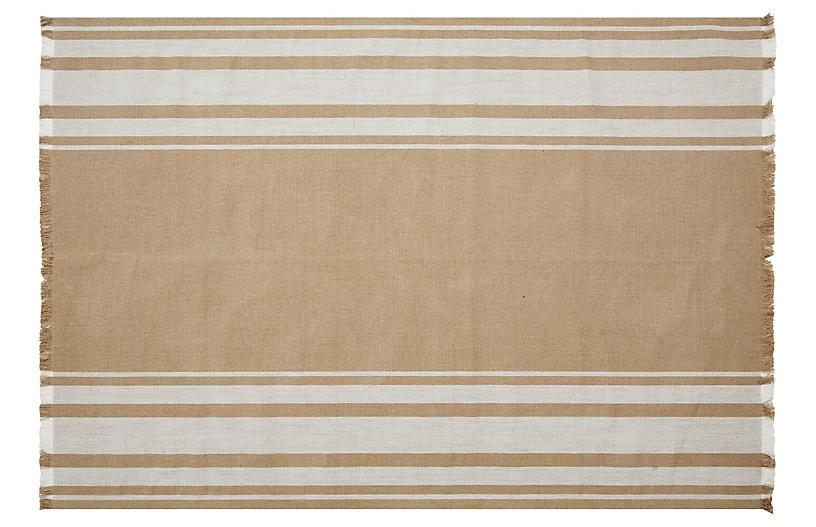 Belgian Linen Rug, Flax/Oyster