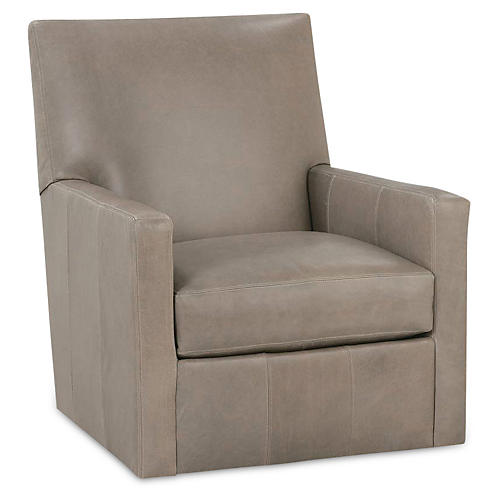 Carlyn Swivel Glider, Gray Leather