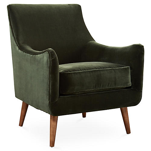 Oliver Accent Chair, Green Velvet