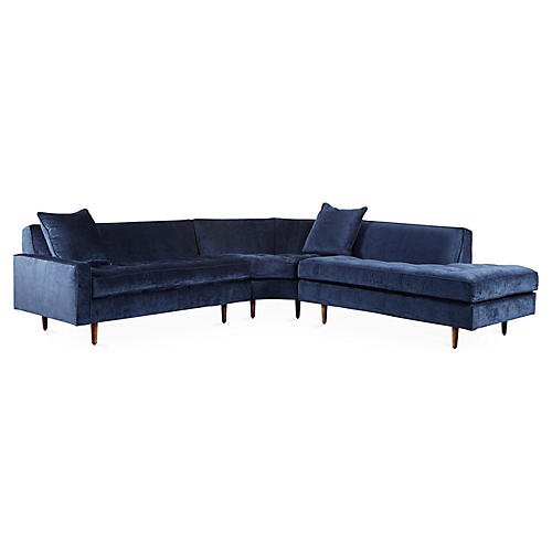 Davia Right-Facing Sectional, Navy Velvet