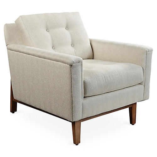 Aldalva Chair, Beige Herringbone Crypton