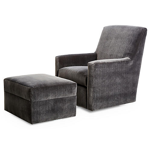 Conrad Swivel Chair & Ottoman, Charcoal Velvet