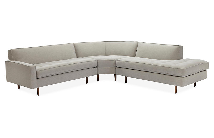 Davia Right-Facing Sectional, Platinum