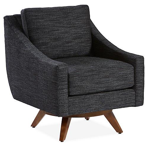 Nash Swivel Club Chair, Midnight